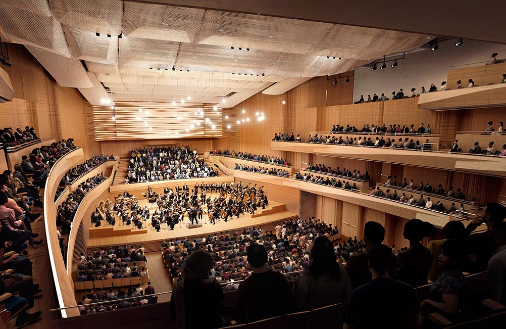 Interior renderings of the new David Geffen Hall from, House-Left - Diamond Schmitt Architects