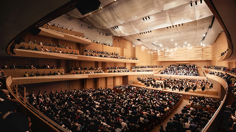 Interior renderings of the new David Geffen Hall from, House-Right - Diamond Schmitt Architects