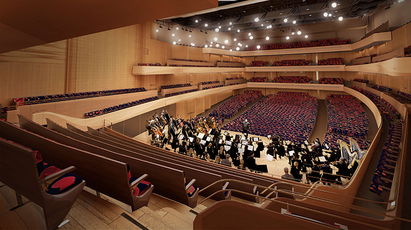 Interior renderings of the new David Geffen Hall from behind the orchestra - Diamond Schmitt Architects