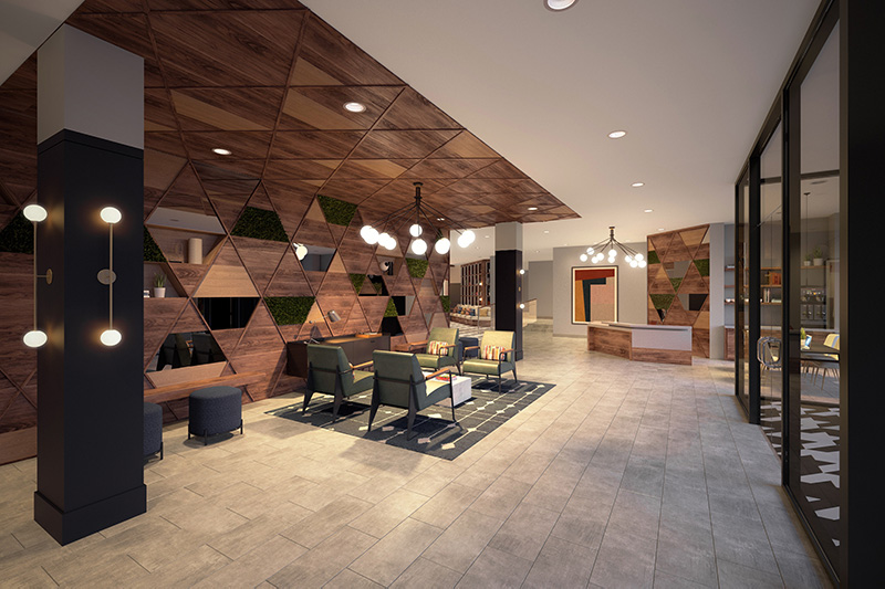 Lobby at Dey & Bergen - Renderings by Mary Cook Associates