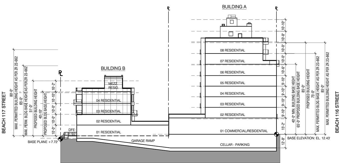 Massing diagram illustrates 133 Beach 116th Street - Fischer + Makooi Architects