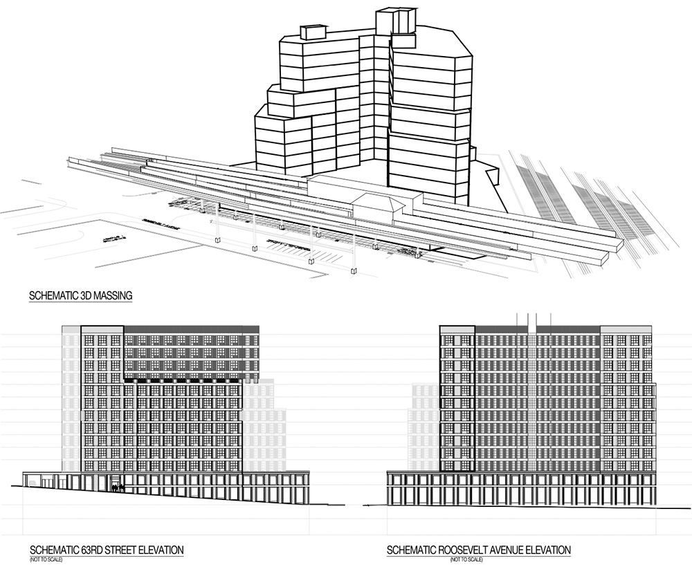Massing diagram illustrates proposed property at Roosevelt Avenue and 63rd Street - Aufgang Architects