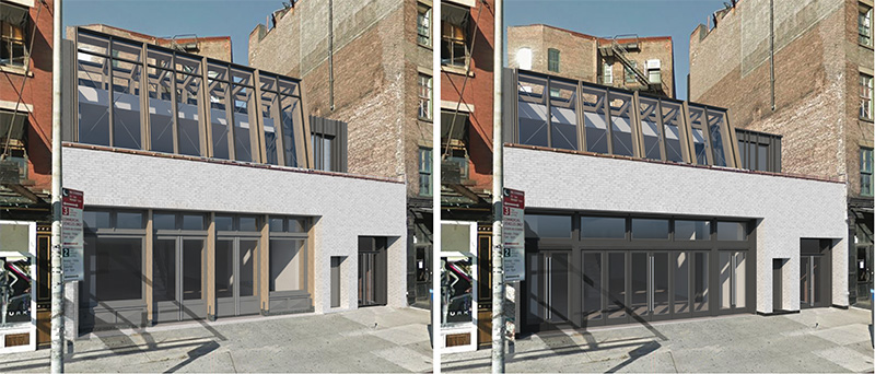 Previous (left) and current (right) renderings of skylight addition at 63-65 Gansevoort Street - BKSK Architects