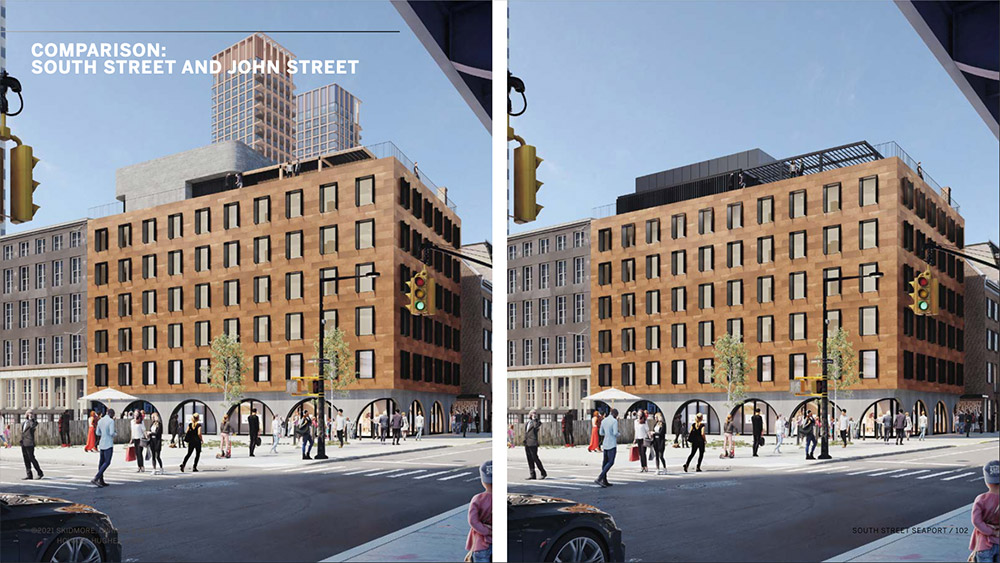 Previous (left) and current (right) renderings of the South Street Seaport Museum- Howard Hughes Corporation; Skidmore, Owings & Merrill (SOM)