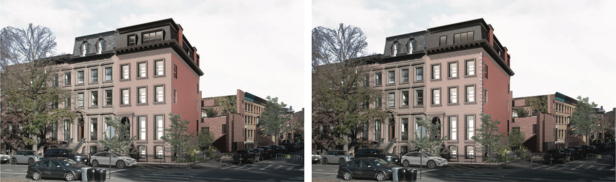 Previous rendering (left) and updated rendering (right) of 176 Washington Park - Kane AUD