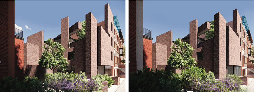 Previous rendering (left) and updated rendering (right) of rear private house at 176 Washington Park - Kane AUD; Thomas Mayne