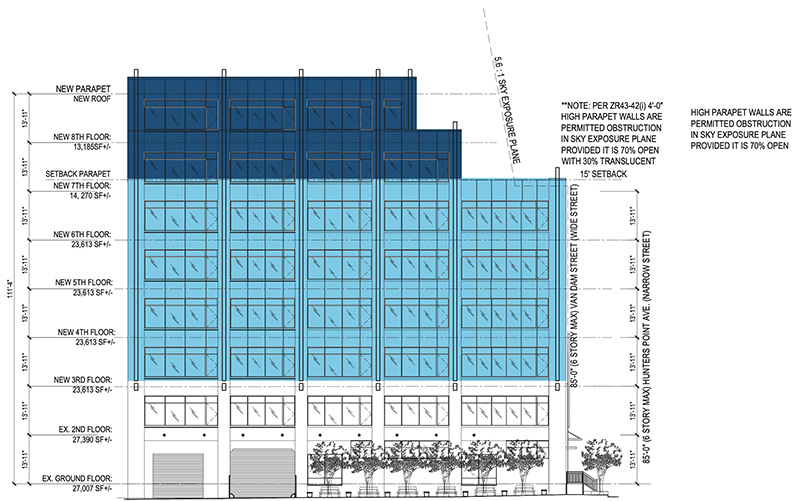 Proposed Hunter's Point Avenue South Elevation for 48-18 Van Dam Street
