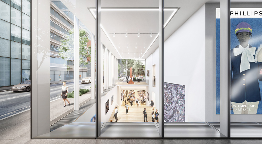 Rendering illustrates ground floor and atrium of the new Phillips auction house at 432 Park Avenue - studioMDA