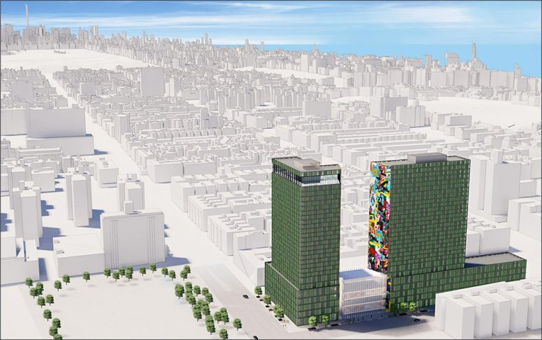 Rendering of dual-tower development One45 in West Harlem - SHoP Architects