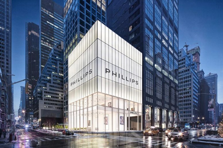Rendering of the new Phillips auction house at 432 Park Avenue - studioMDA