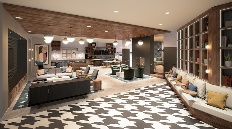 Resident Lounge at Dey & Bergen - Renderings by Mary Cook Associates