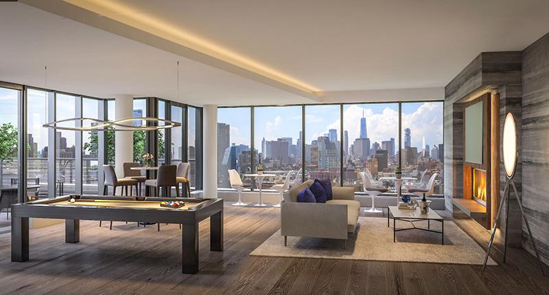 Resident lounge area at Stella LES - BLDG Management Co.; Rotwein + Blake Architects