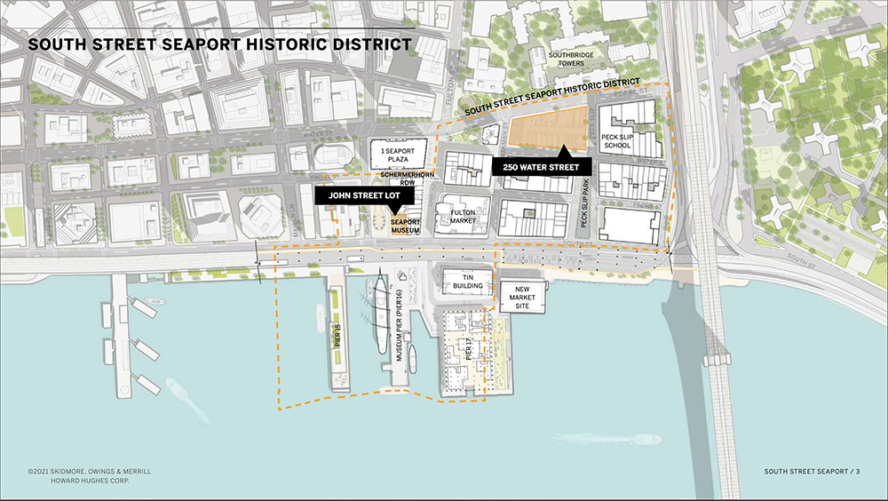 Site map of planned development at 250 Water Street and the new South Street Seaport Museum - Howard Hughes Corporation; Skidmore, Owings & Merrill (SOM)