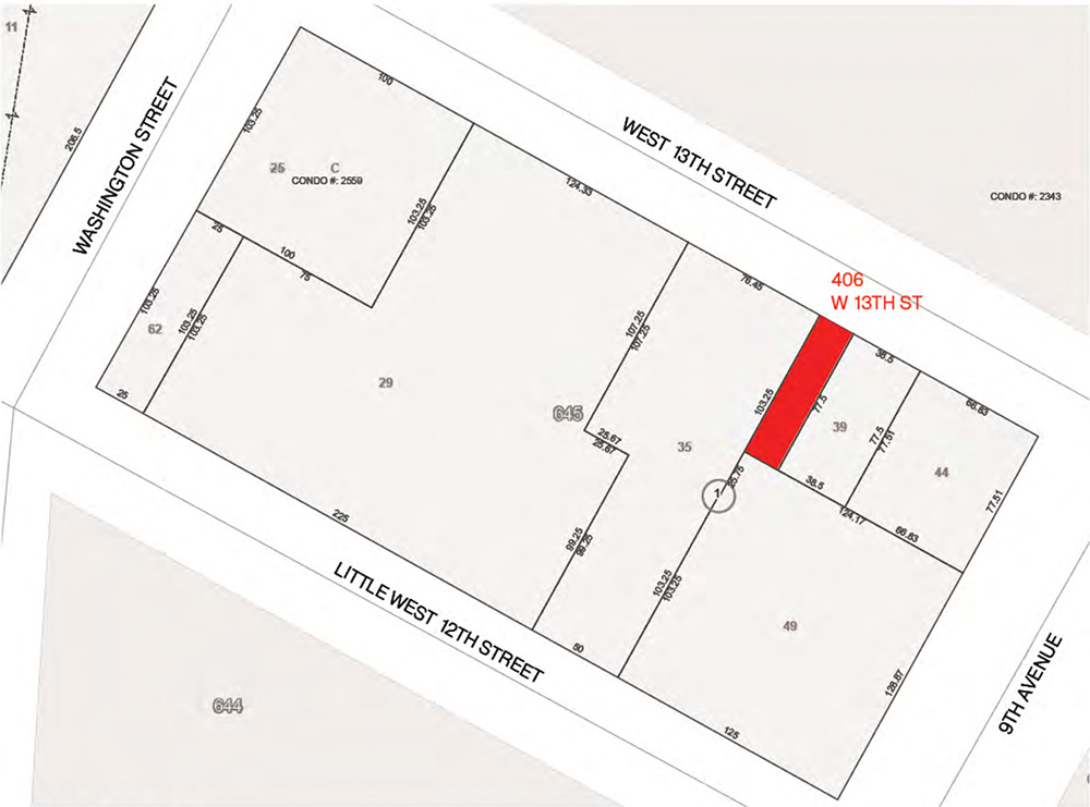 Site map of the existing property at 406 West 13th Street - Format Architecture Office