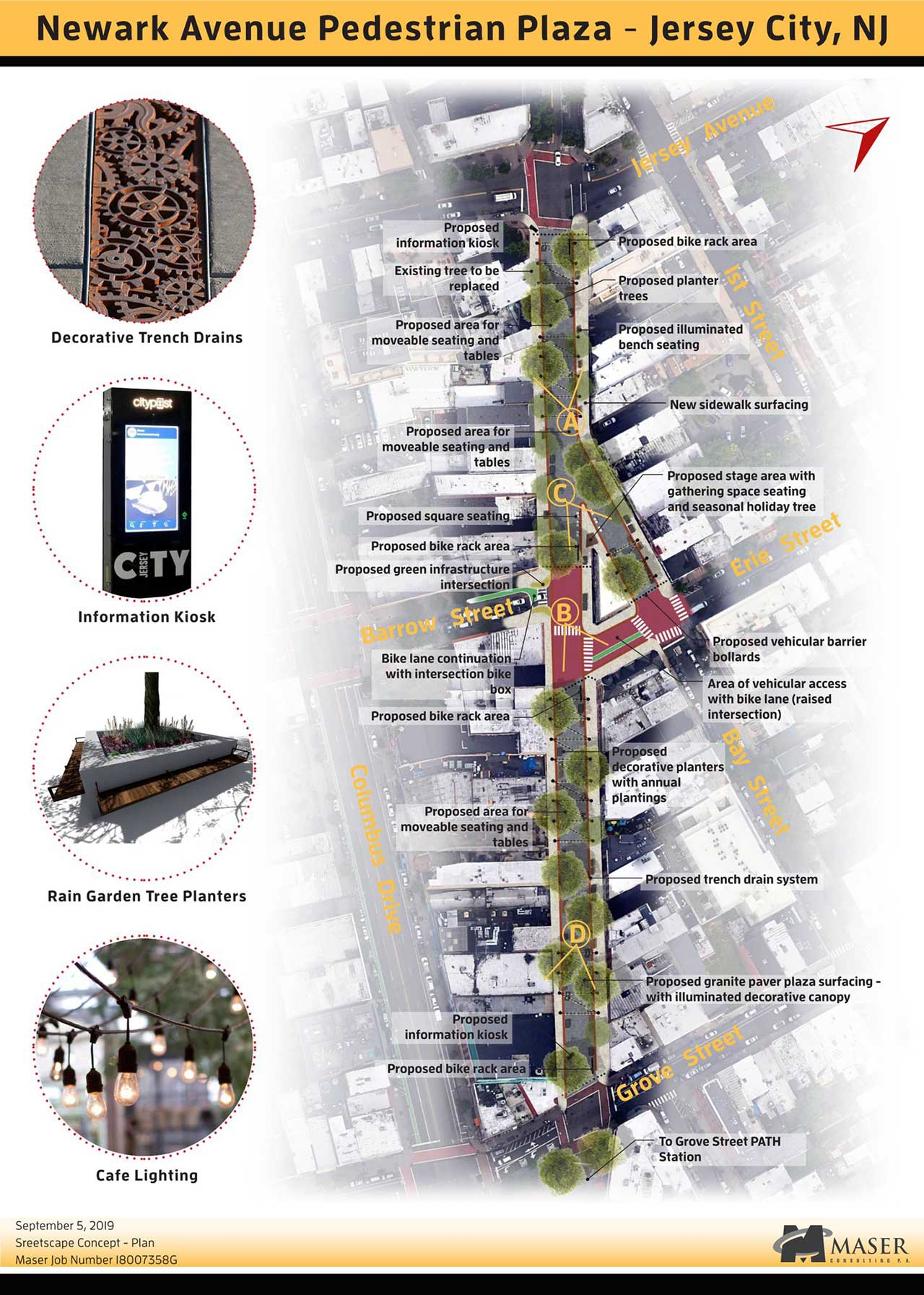 Site plans presented in 2019 for the Newark Avenue Pedestrian Plaza - Maser Consulting