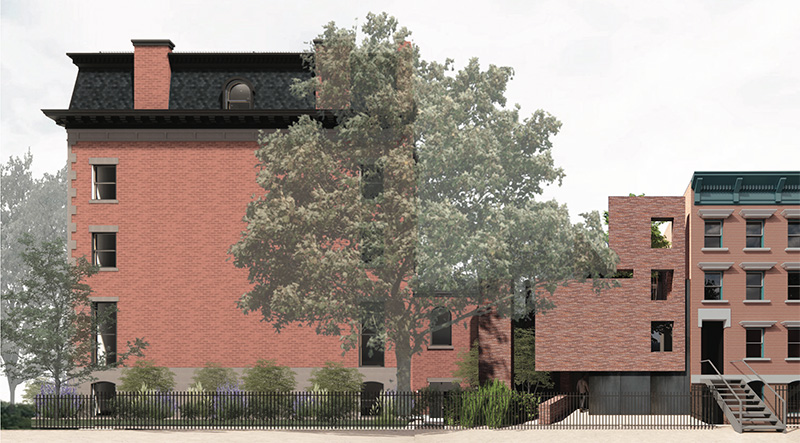 Updated rendering of 176 Washington Park and rear private house - Kane AUD; Thomas Mayne