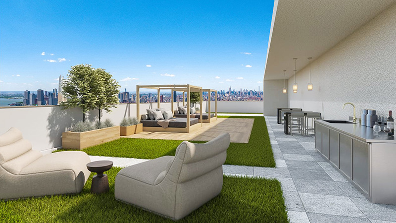 Updated rendering of roof deck at 276 20th Street - Green Street Group; Tom Winter Architects