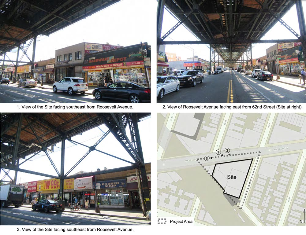 View of existing conditions surrounding the proposed development site at Roosevelt Avenue and 63rd Street - Aufgang Architects