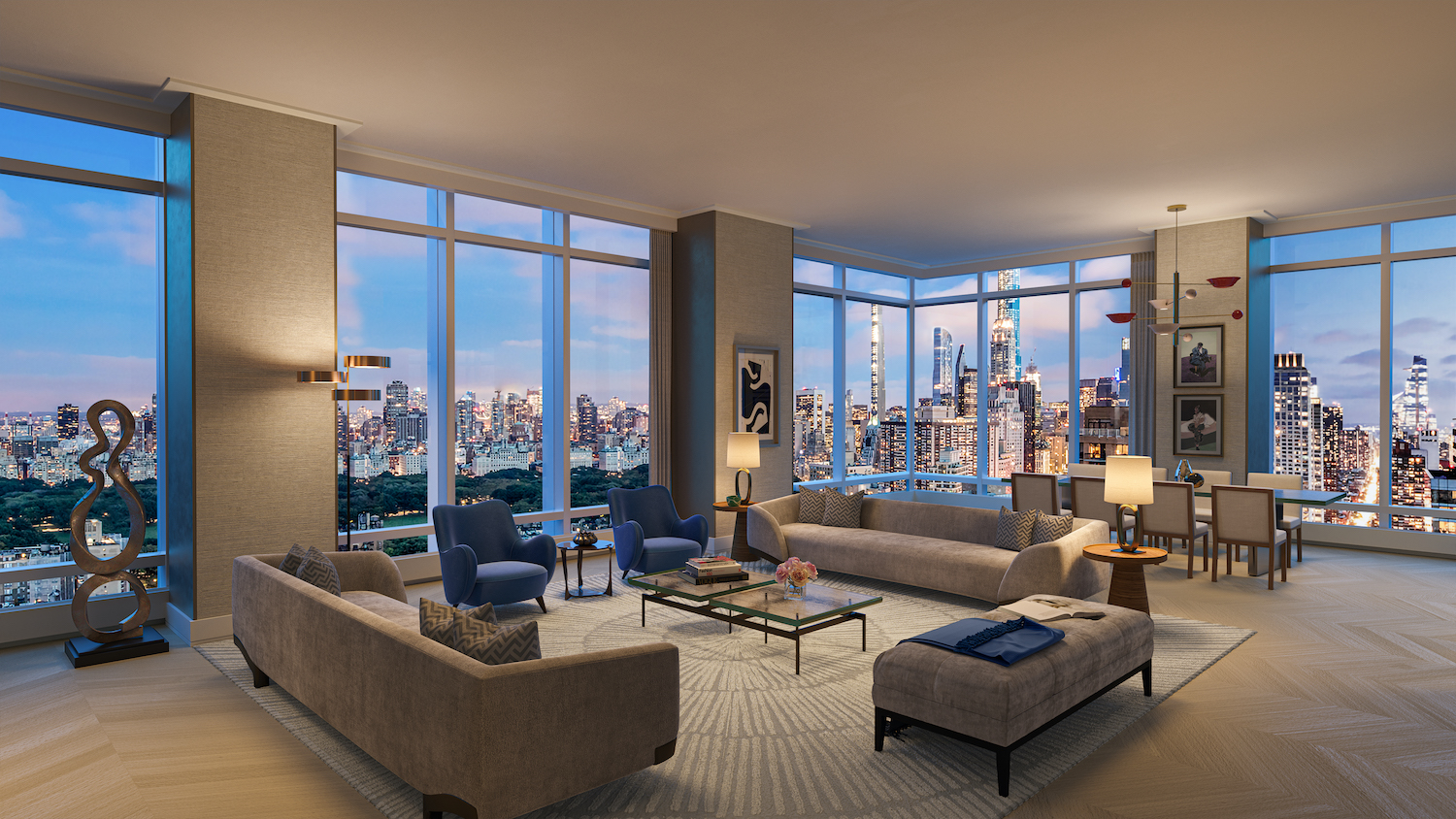 Penthouse living and dining room at 200 Amsterdam on the Upper West Side
