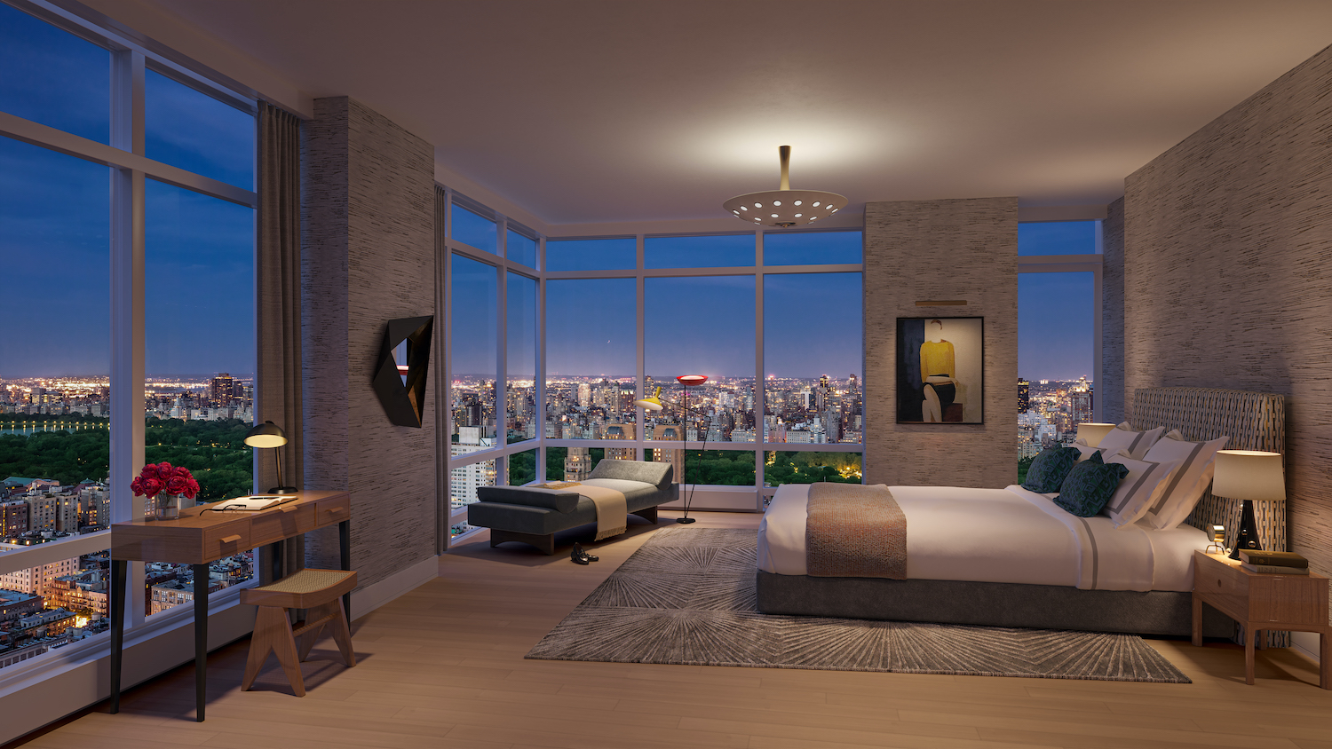Penthouse primary bedroom at 200 Amsterdam on the Upper West Side