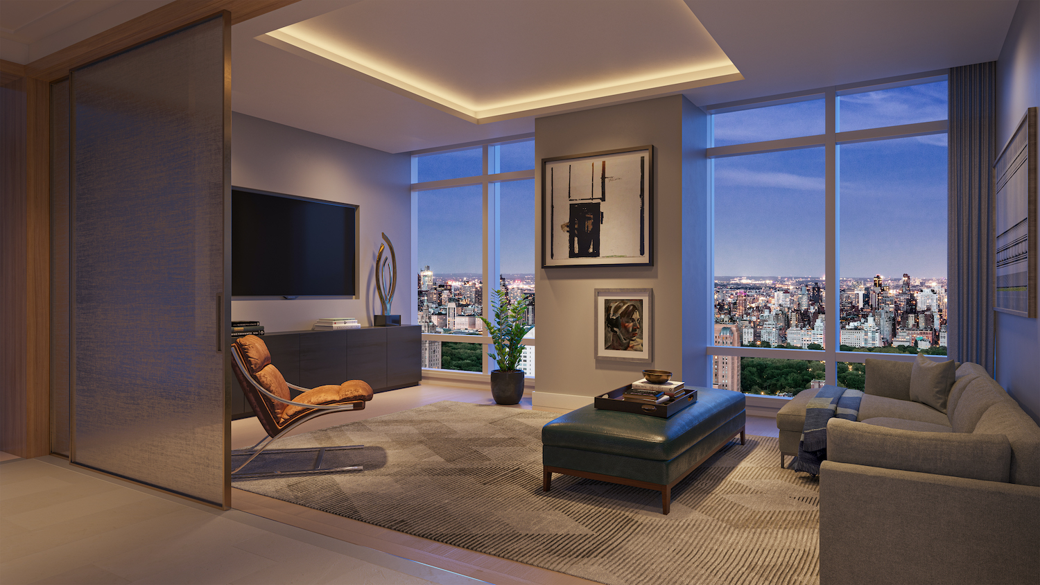 Penthouse media room at 200 Amsterdam on the Upper West Side