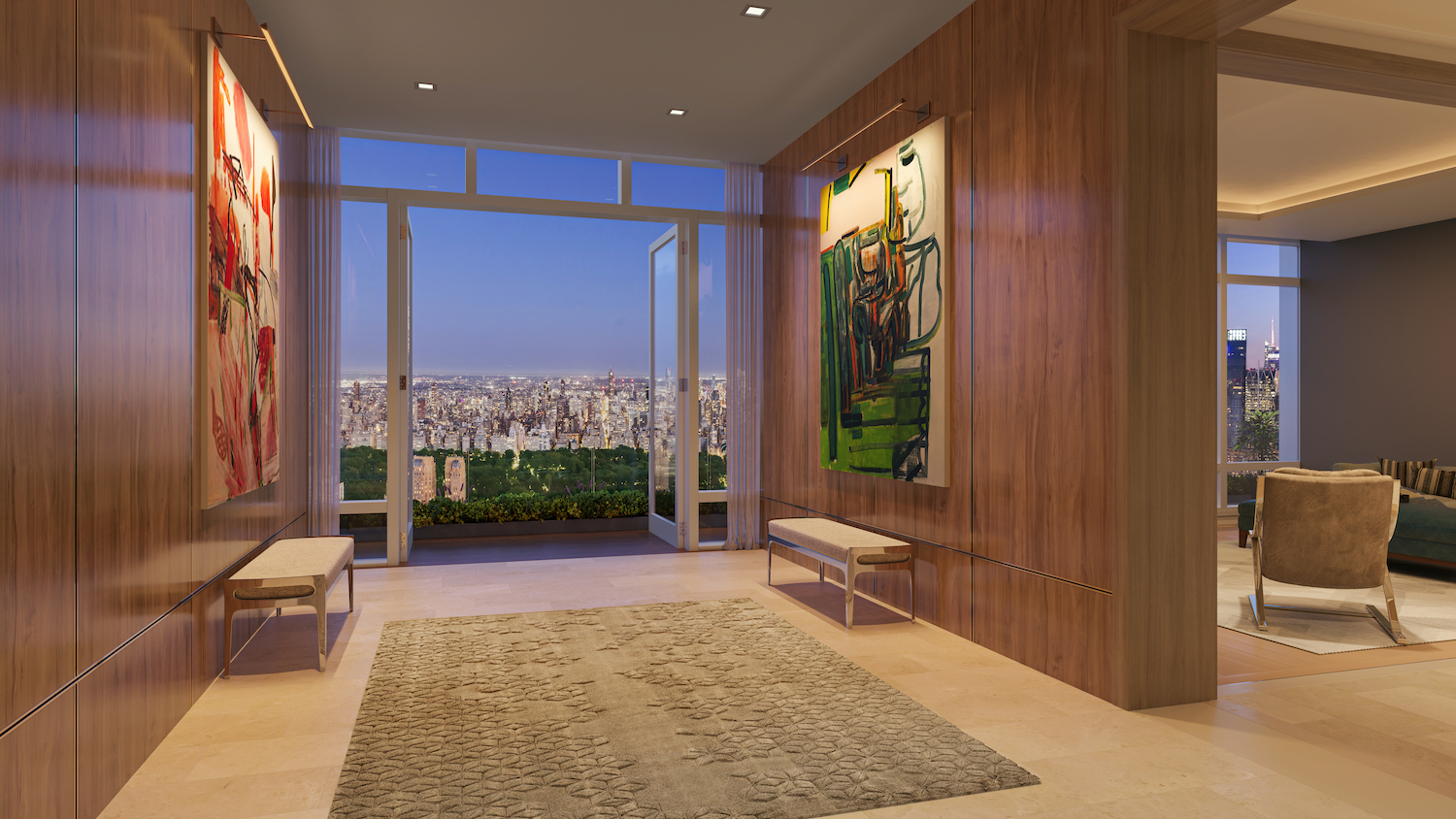 Penthouse entry foyer at 200 Amsterdam on the Upper West Side