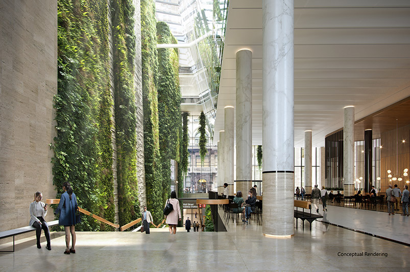 Conceptual rendering of new atrium and dining areas at 60 Wall Street - Courtesy of Paramount Group