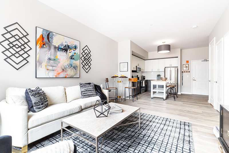 View of model apartment at Rivet 26 - The Hampshire Companies