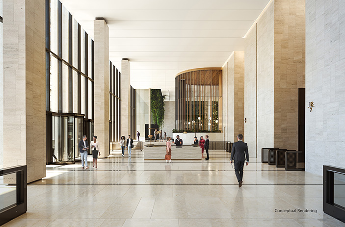 Conceptual rendering of new commercial lobby at 60 Wall Street - Courtesy of Paramount Group