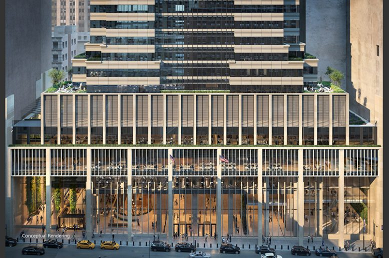 Conceptual rendering of updated exterior facade at 60 Wall Street - Courtesy of Paramount Group