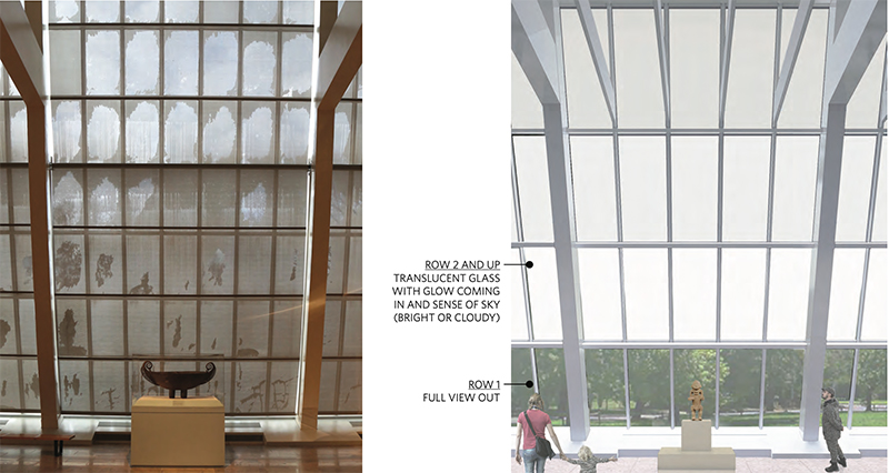Existing conditions (left) proposed glazing system (right) at The Metropolitan Museum of Art - Beyer Blinder Belle