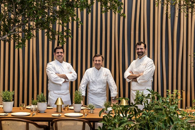 [From Left to Right] Le Pavillon's Executive Chef Team Will Nacev, Daniel Boulud, and Michael Balboni - Photo by Thomas Schauer