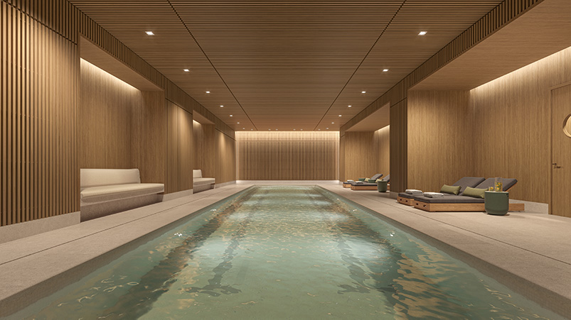 Indoor pool at One Boerum Place - Williams New York; SLCE Architects