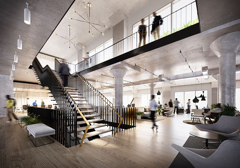 Interior rendering of office spaces within the Harborside 1, 2, 3 office campus - Photo courtesy of Mack-Cali