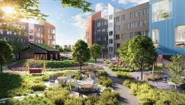Landscaped courtyard at The Eddy - Image courtesy of Ironstate Development Co. and The Pegasus Group