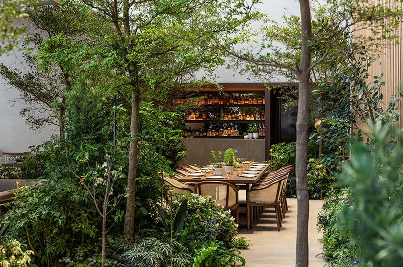 Le Pavillon's Outdoor Garden Table and Bar - Photo by Thomas Schauer