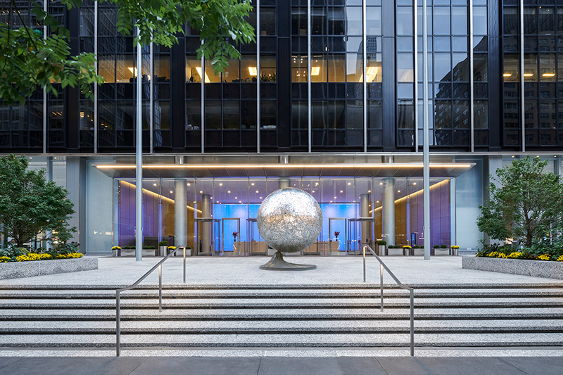 Main entry plaza with a view of HOME by artist Michael Christian at 1345 Avenue of the Americas - Courtesy of Fisher Brothers Management Company