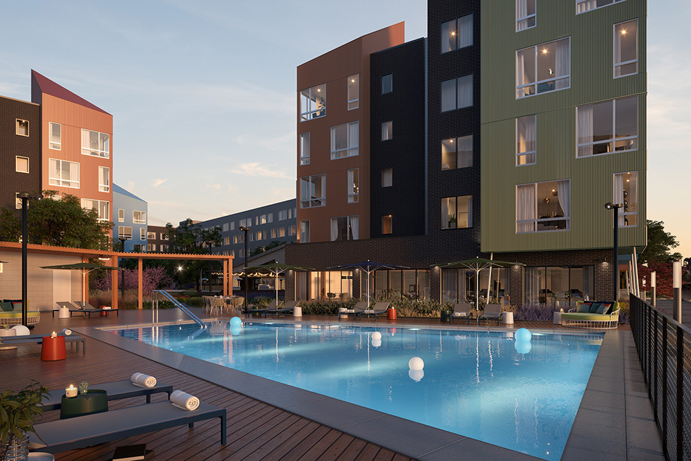 Pool deck and outdoor lounge areas at The Eddy Pool - Image courtesy of Ironstate Development Co. and The Pegasus Group