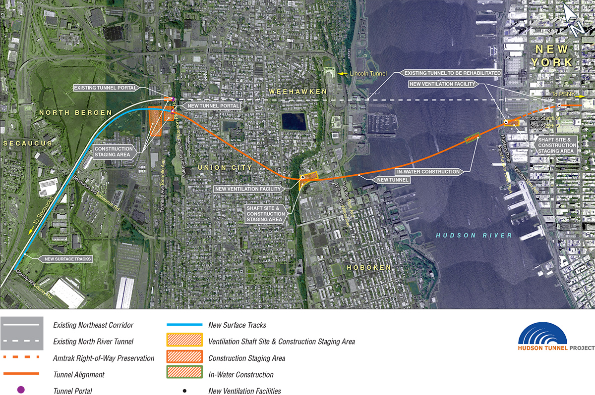 Project map illustrates scope of work for the Hudson Tunnel Project