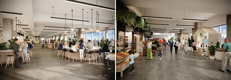 Rendering of Concourse A (left) and B(right) at the Harborside 1, 2, 3 commercial campus - Photo Courtesy of Mack-Cali