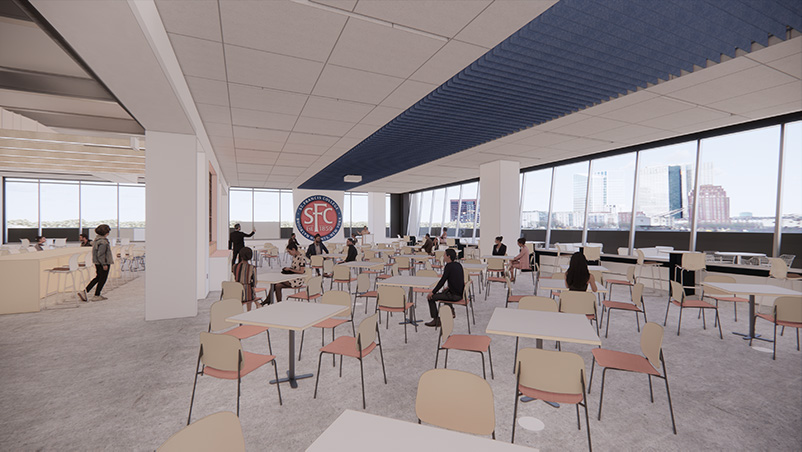 Rendering of a flexible multi-function space at Saint Francis College Downtown Brooklyn