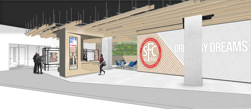 Rendering of the entry plaza and concierge space at Saint Francis College Downtown Brooklyn