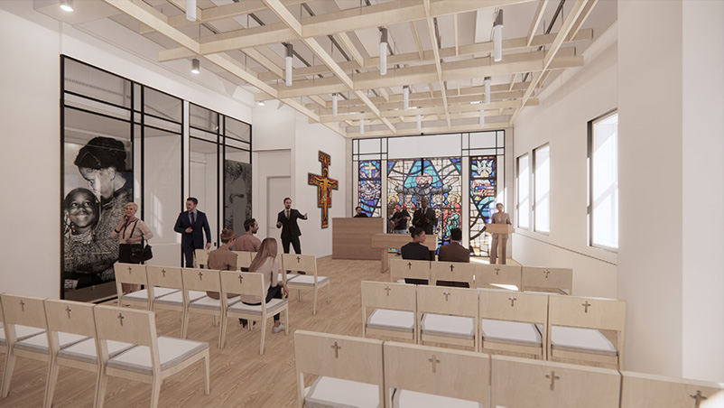 Rendering of worship space and chapel at Saint Francis College Downtown Brooklyn