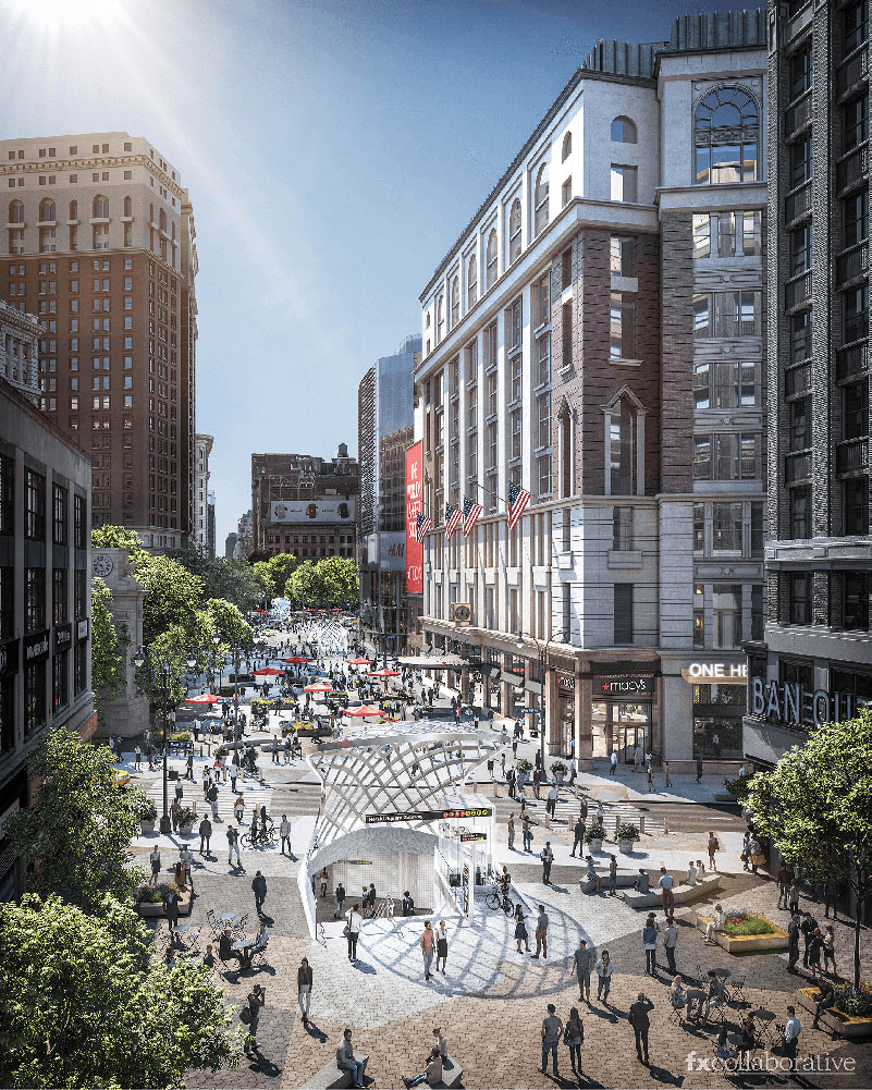 Renderings of outdoor plaza at Macy's New York City flagship store - FXCollaborative
