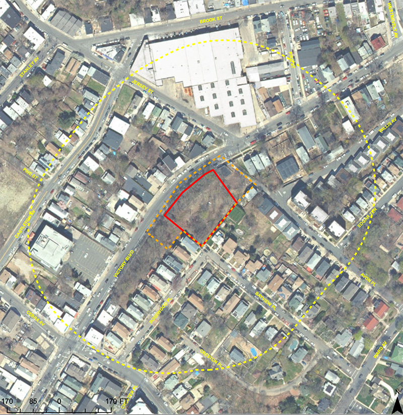Site map illustrates 252 Victory Boulevard lot assemblage (in red) and total affected area per zoning text (in yellow)- 252 Victory Boulevard Realty, LLC