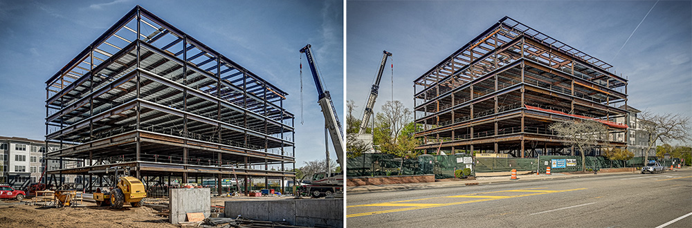 Steel structural framing of M Station building