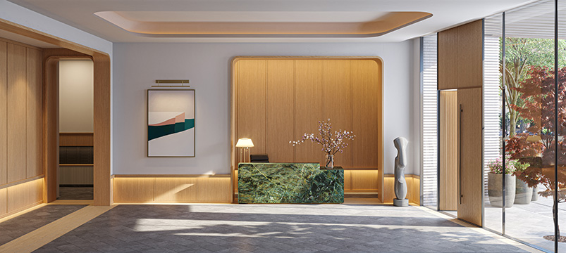 View inside residential lobby at One Boerum Place - - Williams New York; SLCE Architects