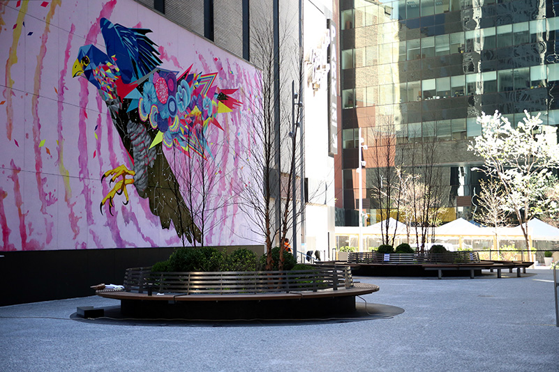 View of Fisher Park with Falcon Dreaming mural by Vexta - Courtesy of Fisher Brothers Management Company