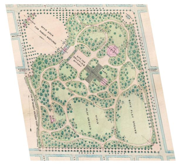 1867 Olmsted & Vaux Plan shows the original path system of the pastoral landscape within Fort Greene Park - New York City Parks Department