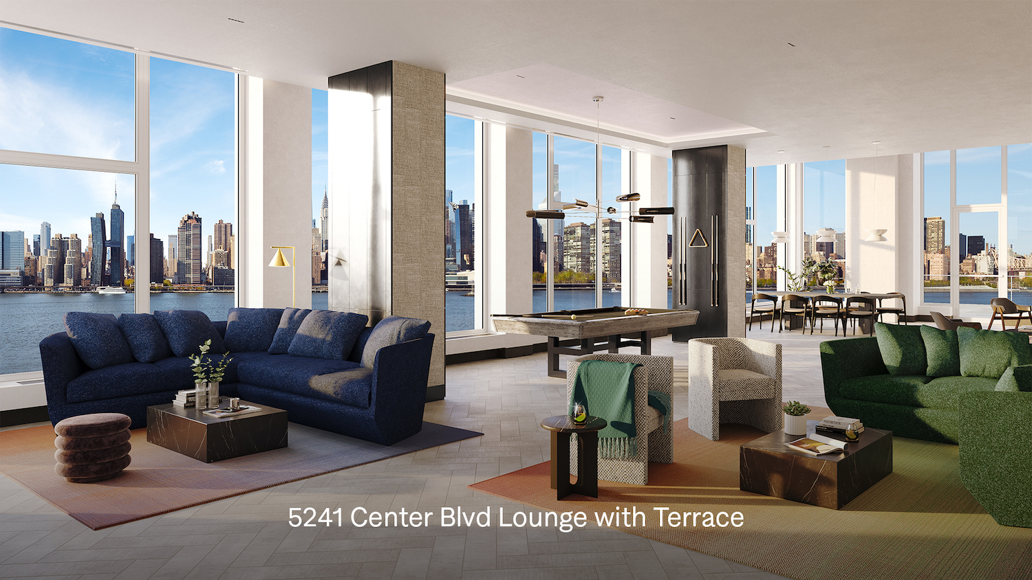 Lounge with terrace at 5203 Center Boulevard